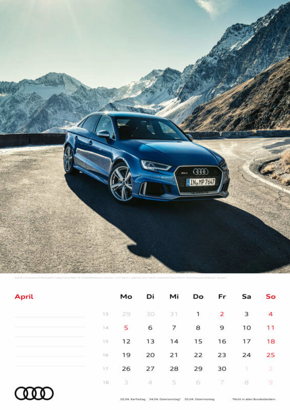 Audi Kalender 2021 - DIN A3 / Audi RS3 Limousine