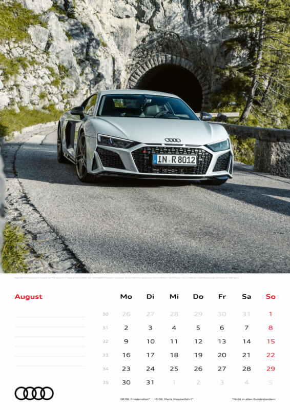 Audi Kalender 2021 - DIN A3 / Audi R8 Coupé Decennium