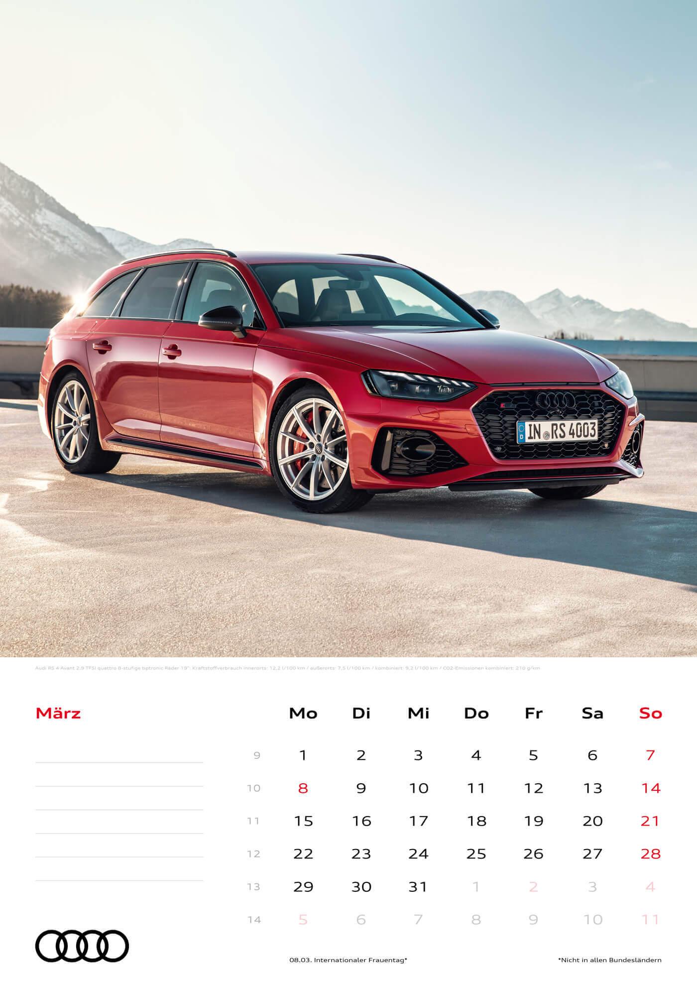 Audi Kalender 2021 - DIN A3 / Audi RS4 Avant