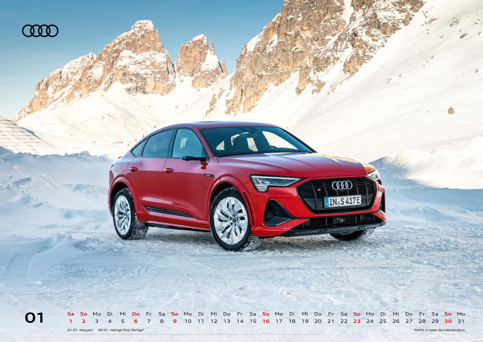Audi Wandkalender 2022 A2 Januar