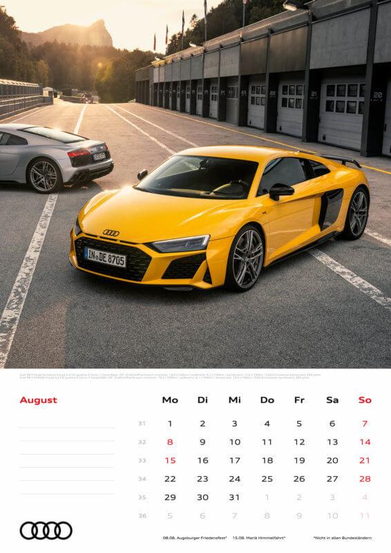 Audi Kalender 2022 A3 August