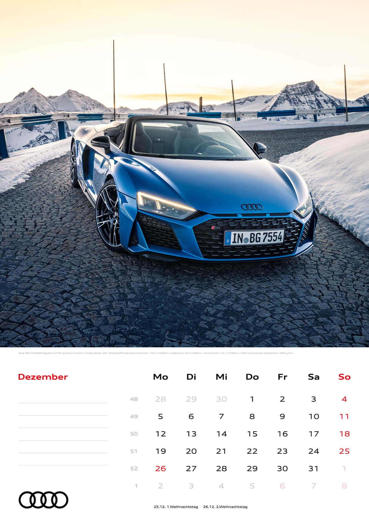 Audi Kalender 2022 A3 Dezember