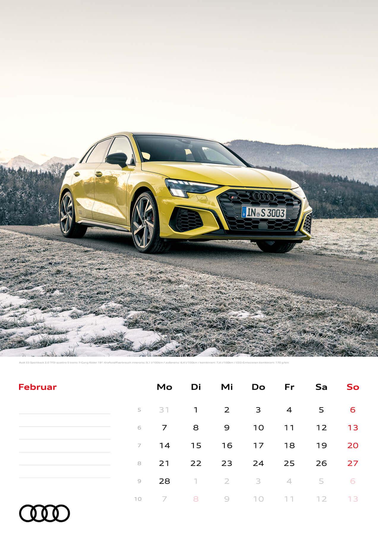 Audi Kalender 2022 A3 Februar