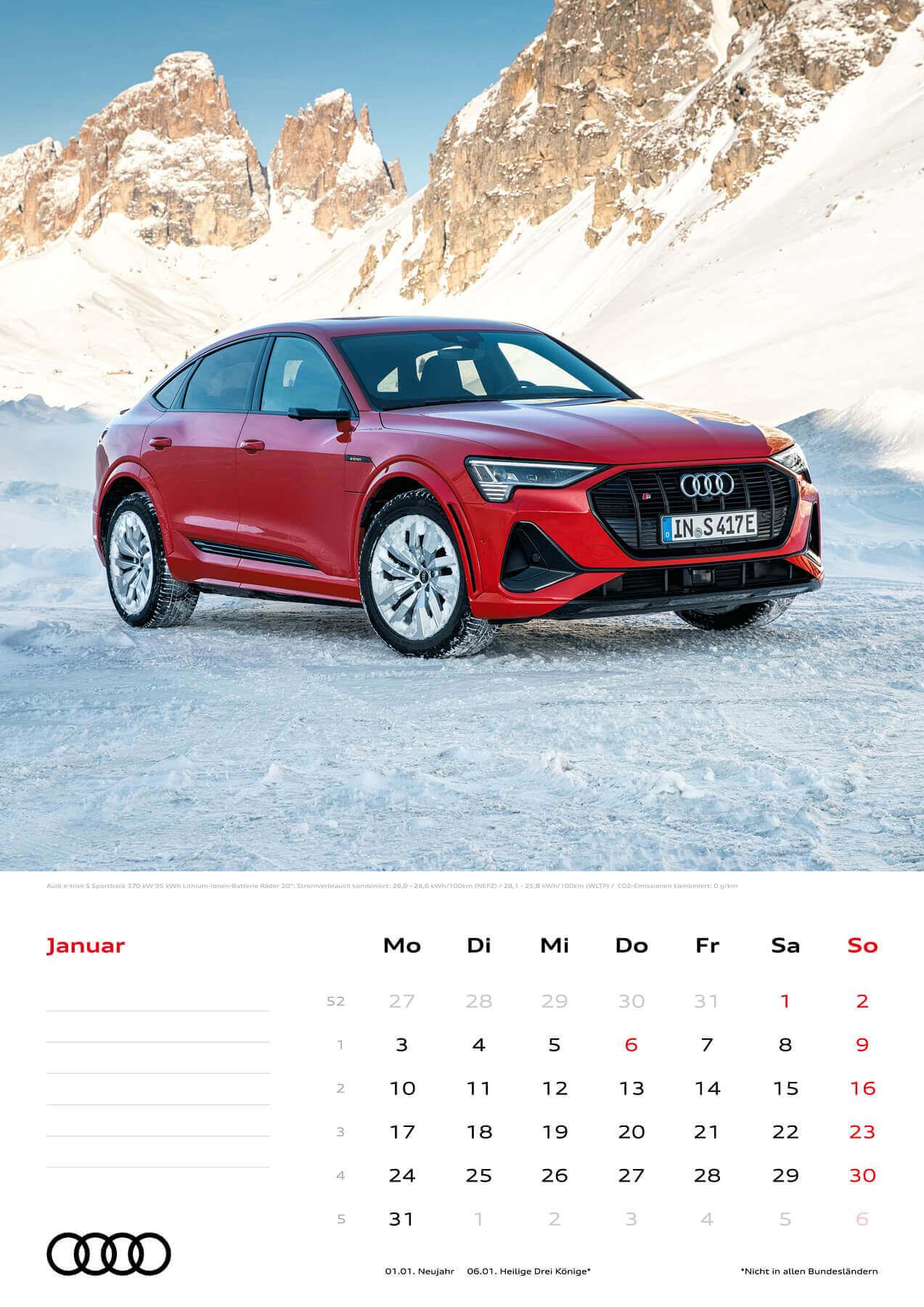 Audi Kalender 2022 A3 Januar