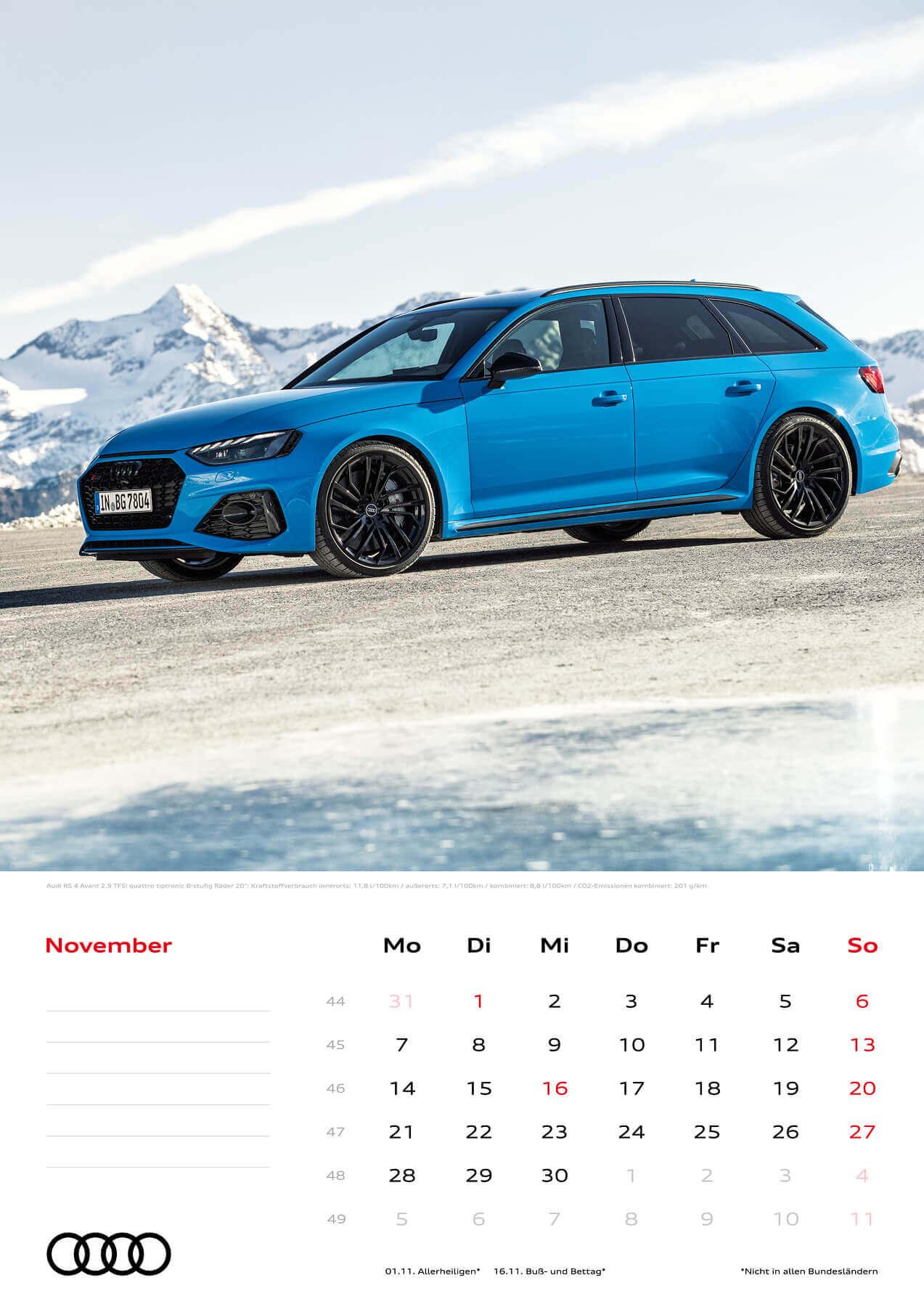 Audi Kalender 2022 A3 November