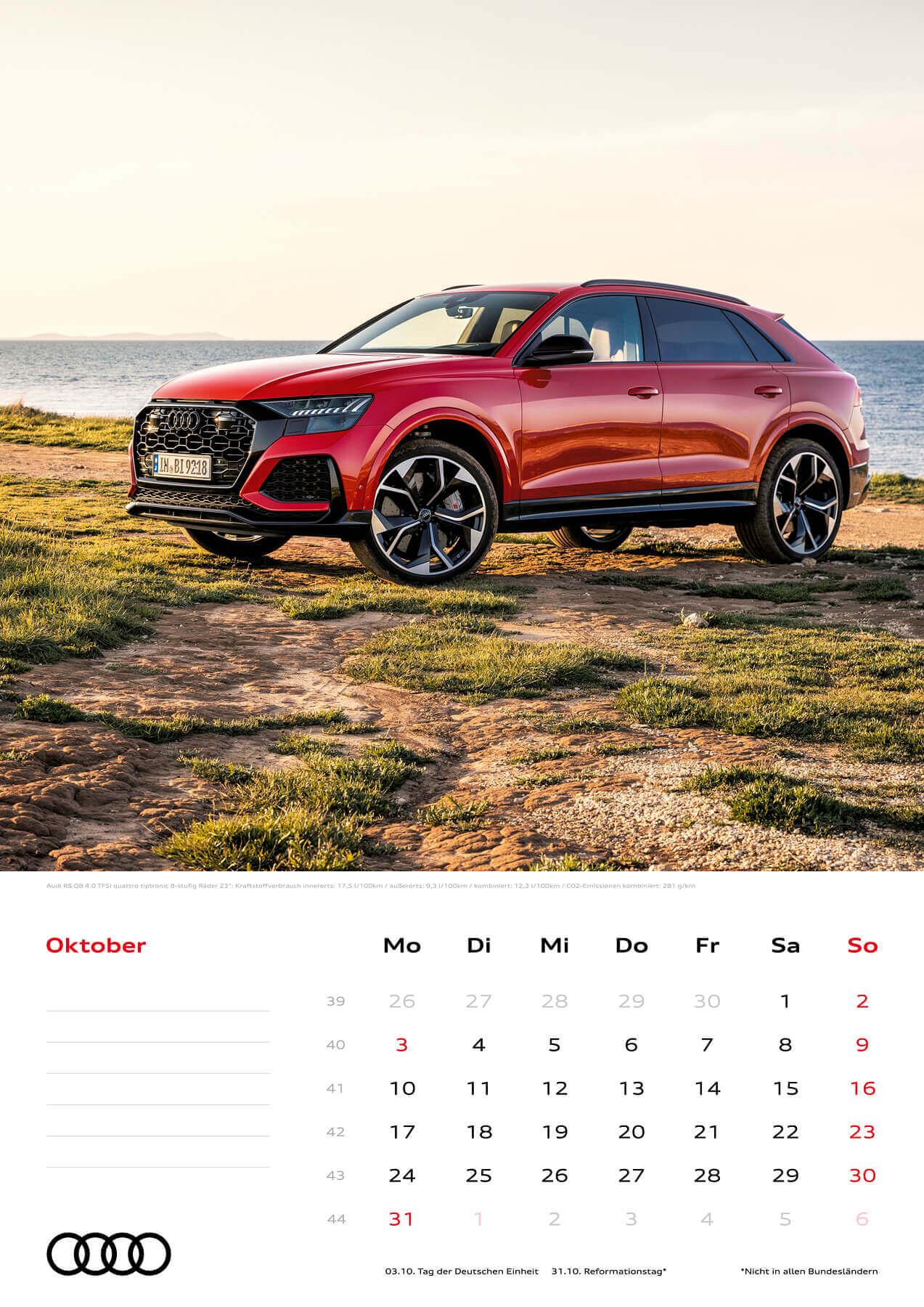 Audi Kalender 2022 A3 Oktober