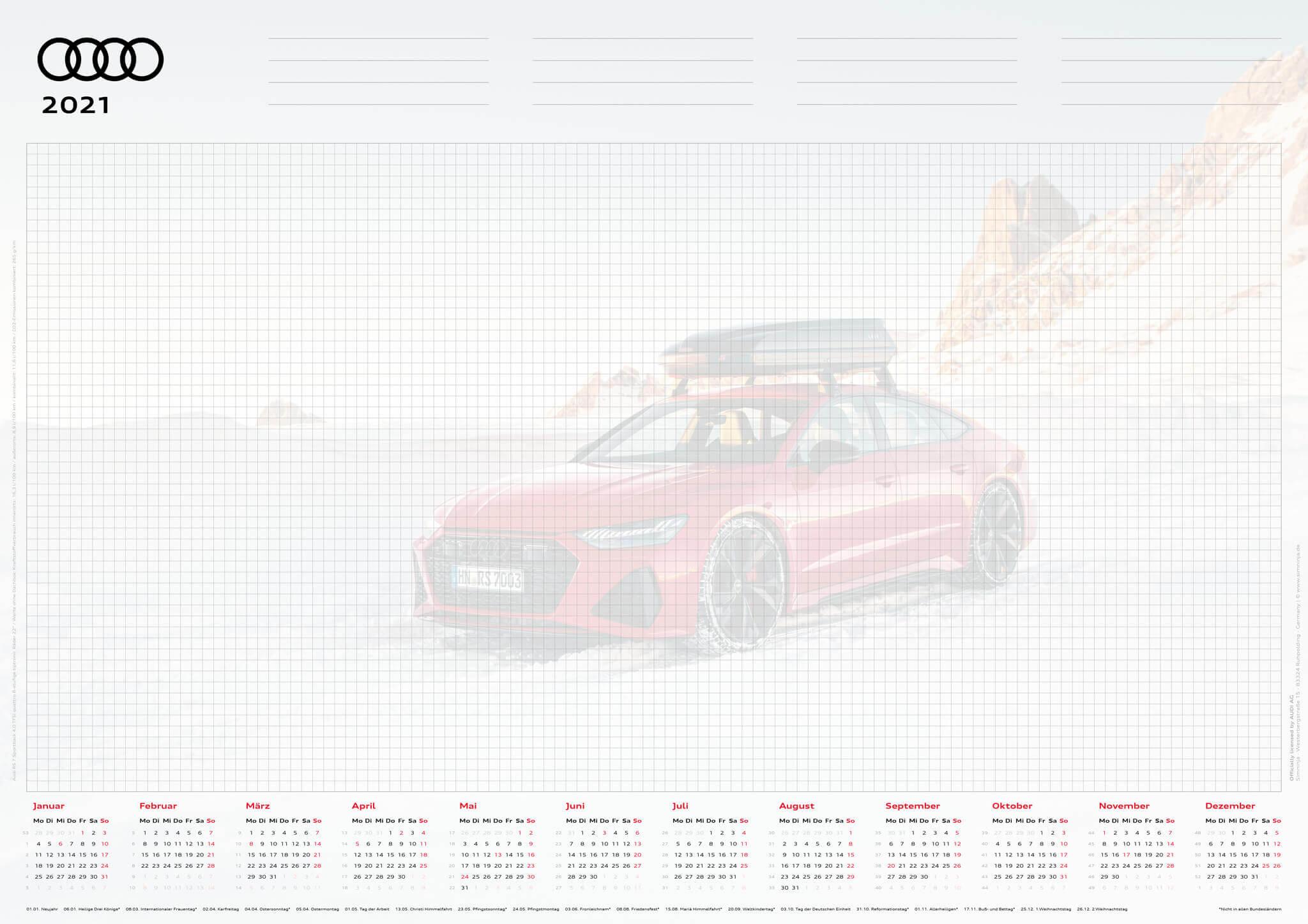 Audi Schreibtischunterlage 2021 - DIN A2