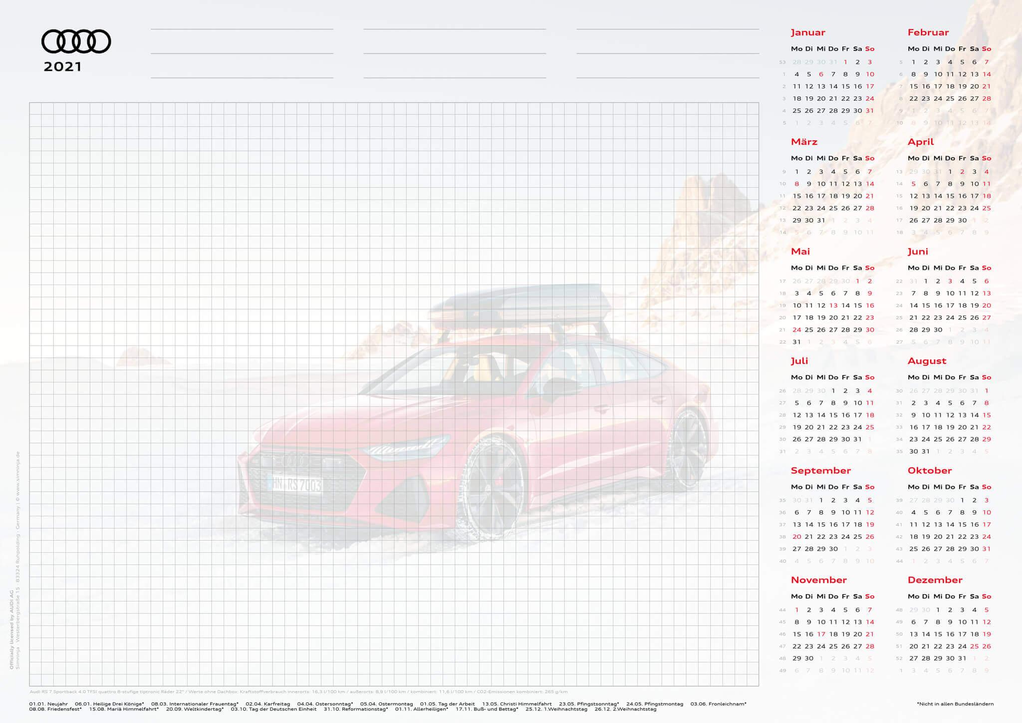 Audi Schreibtischunterlage 2021 - DIN A3