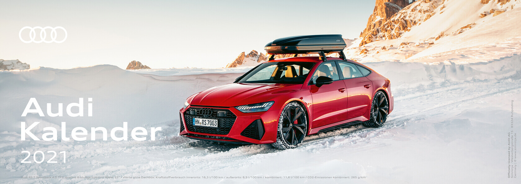 Audi Tischkalender 2021 - DIN A5 lang / Audi RS7 Sportback