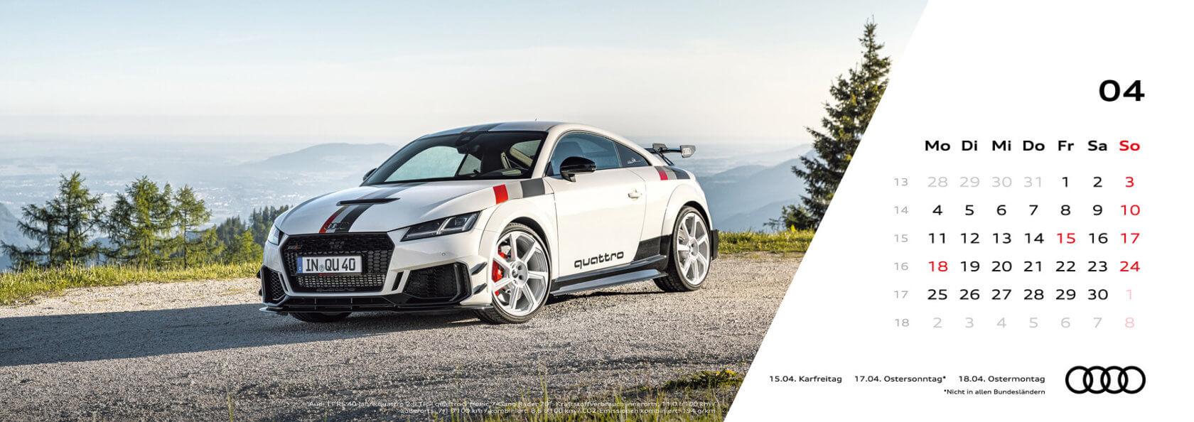 Audi Tischkalender 2022 - April