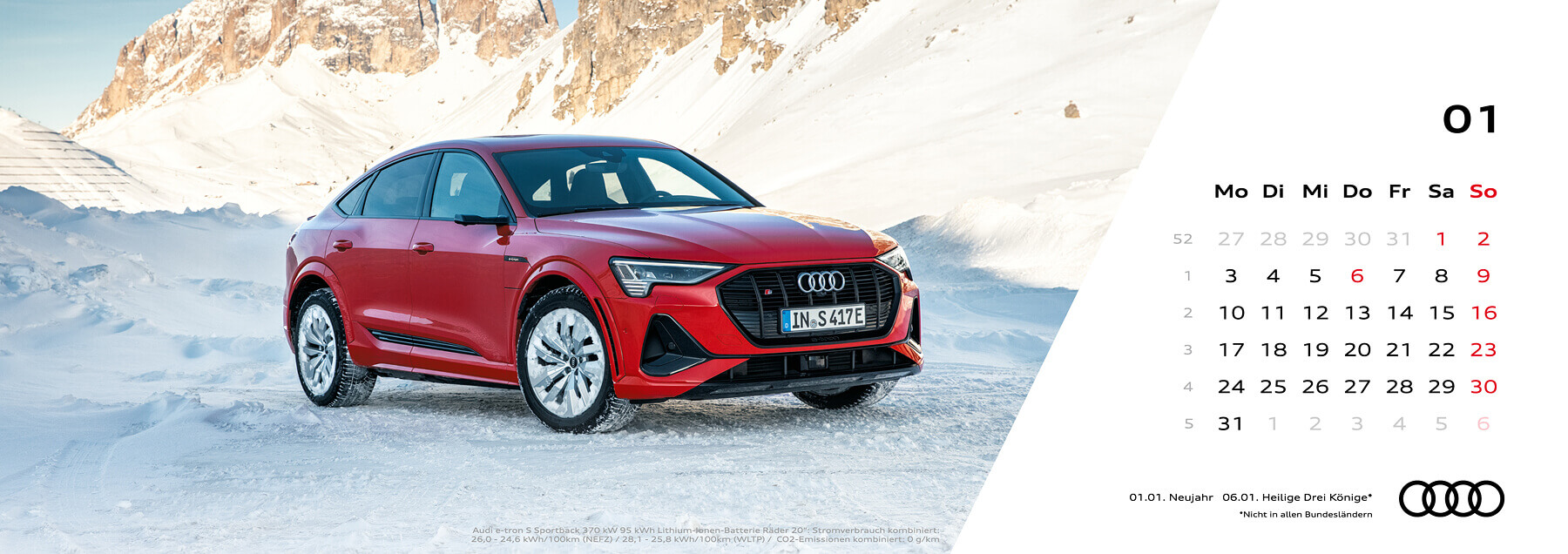 Audi Tischkalender 2022 - Januar