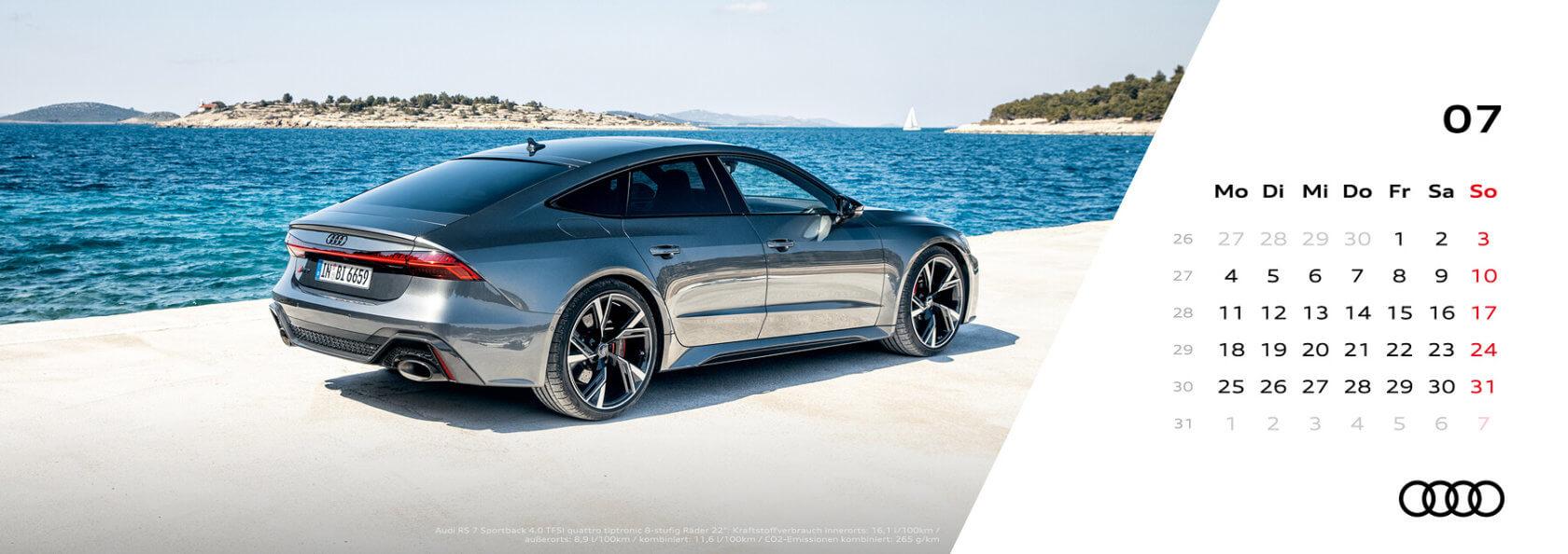 Audi Tischkalender 2022 - Juli