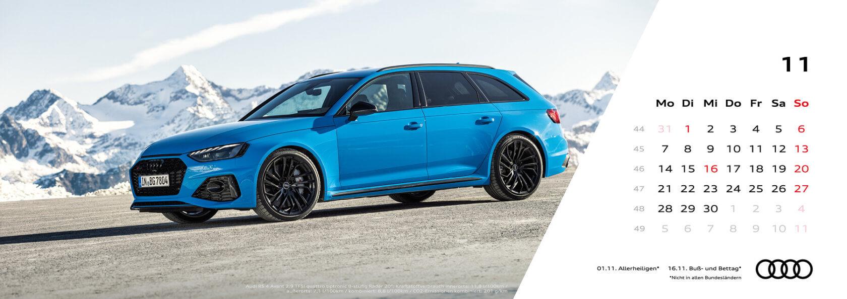 Audi Tischkalender 2022 - November